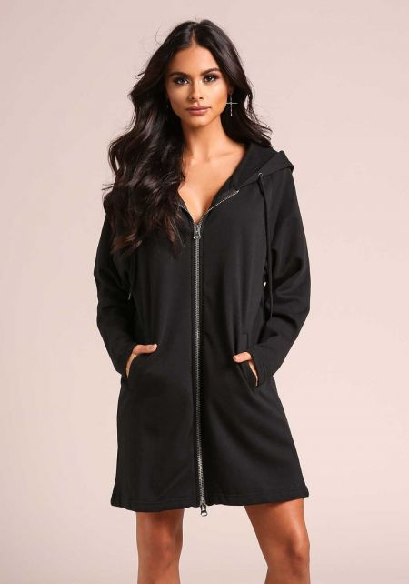 Black Hooded Zip Up Tunic Sweater