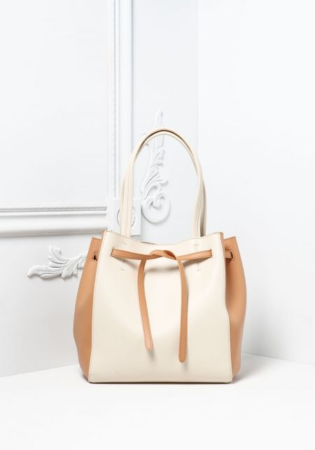 Beige and Ivory Vegan Leatherette Tote Bag