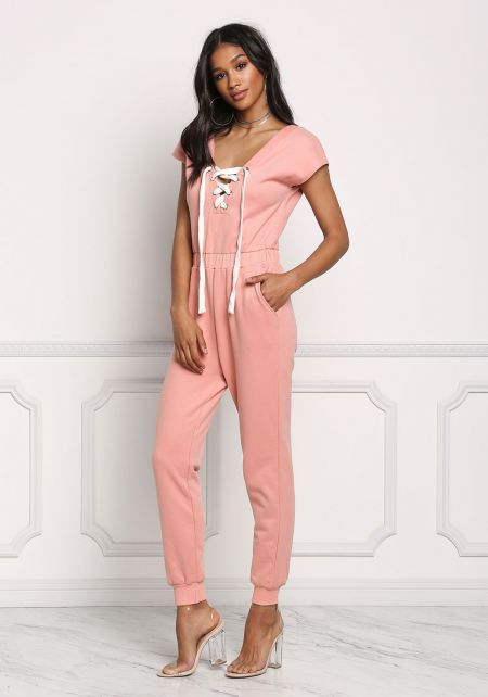 Blush Lace Up Thick Knit Jumpsuit