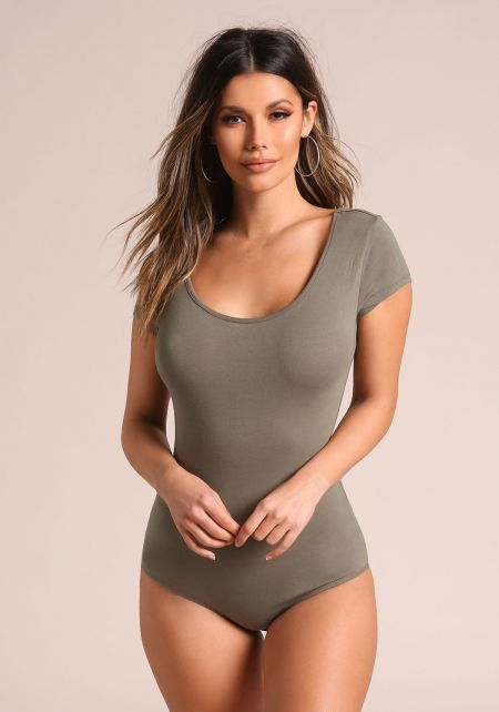 Olive Basic Tee Bodysuit