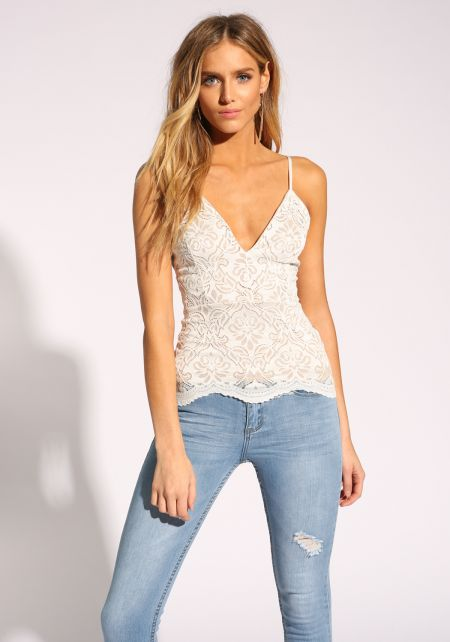 White Plunge Lace Tank Top