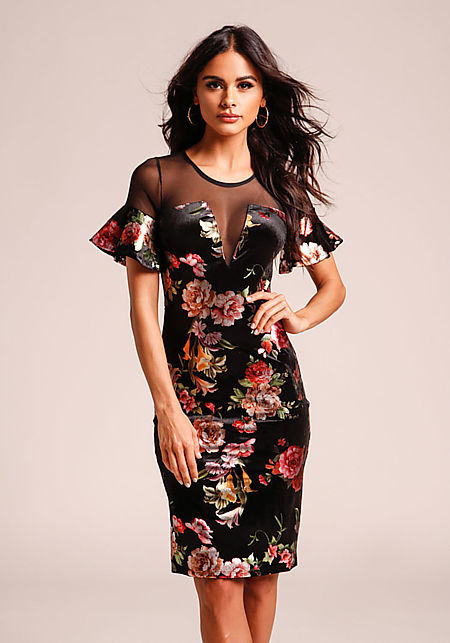 Black Floral Metallic Velvet Mesh Dress