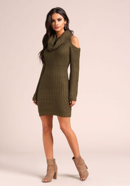 Olive Thick Knit Cold Shoulder Sweater Dress