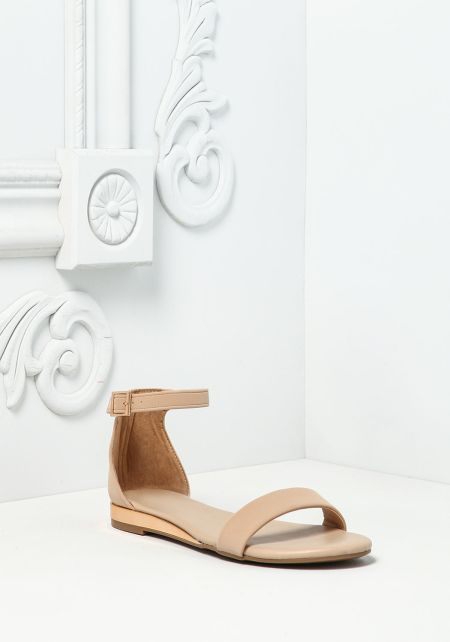 Nude Leatherette Ankle Strap Sandals
