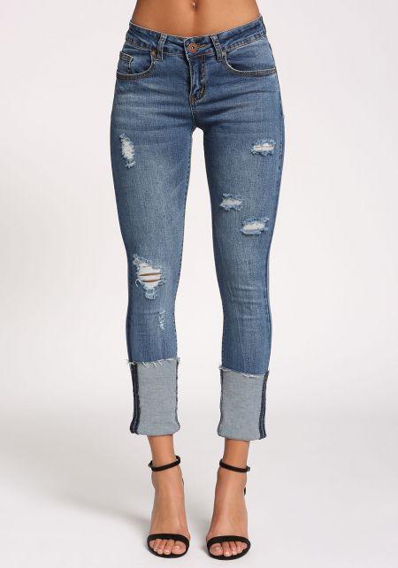 Medium Denim Cuffed Low Rise Jeans