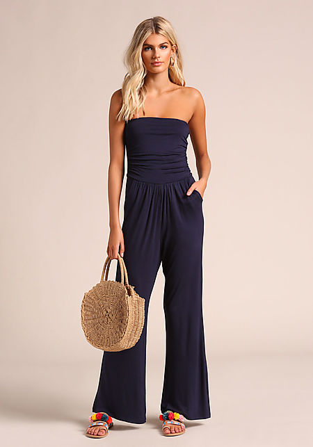 Navy Strapless Pocket Jumpsuit