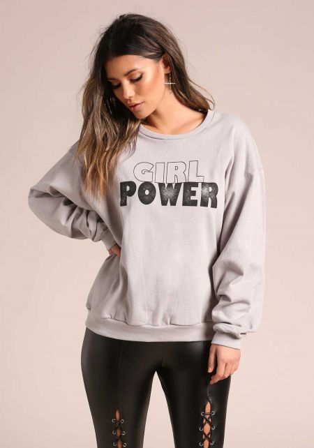 Light Grey Girl Power Puff Sleeve Pullover Sweater