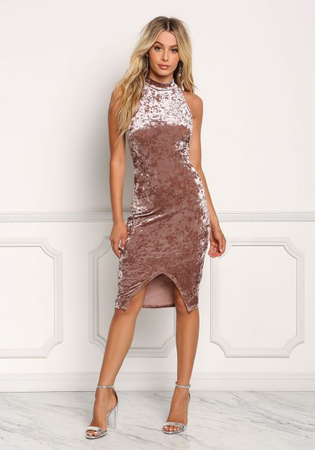 Mocha Crushed Velvet Slit Bodycon Dress