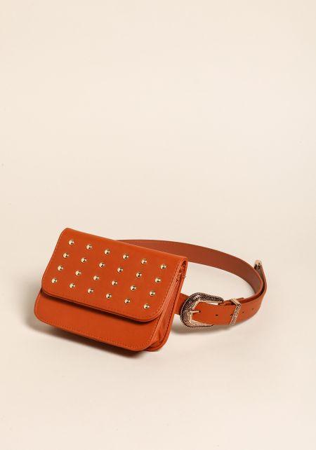 Brown Studded Leatherette Fanny Belt