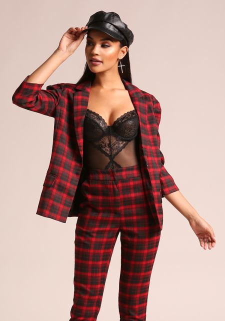 Red Plaid Single Breasted Blazer
