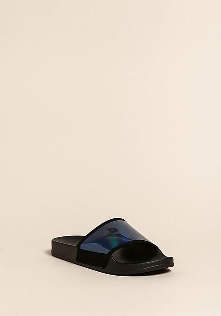 Blue Iridescent Slide Sandals