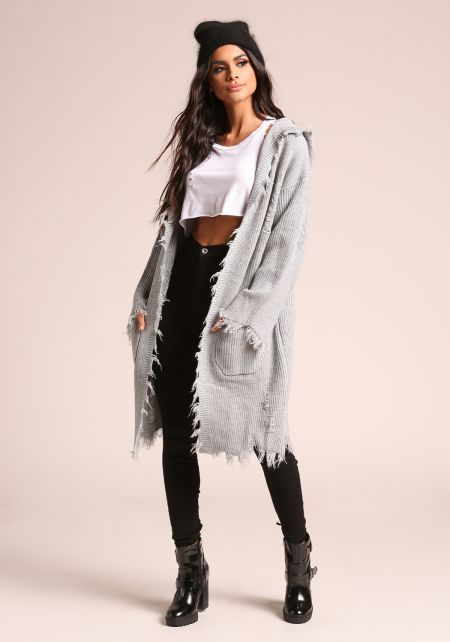 Grey Hooded Distressed & Frayed Knit Cardigan