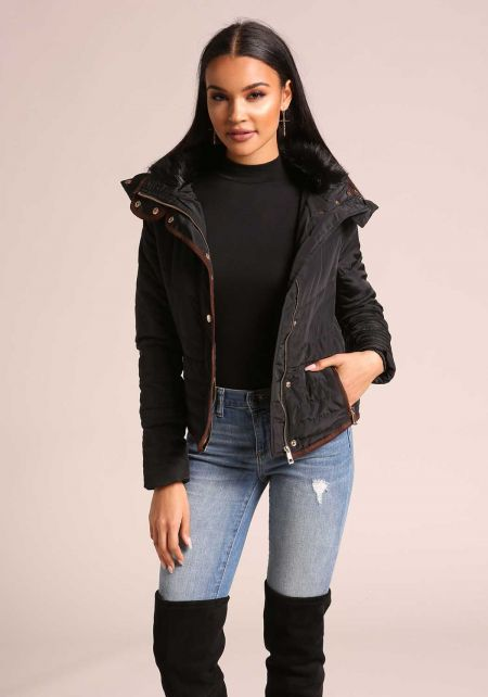 Black Faux Fur Collar Hooded Parka Jacket