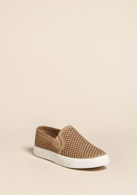 Camel Faux Leather Laser Cut Slip On Sneakers