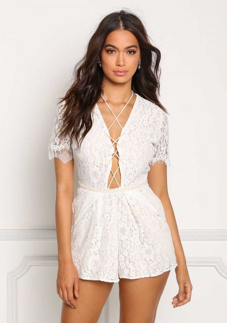 White Floral Lace Plunge Cross Strap Romper