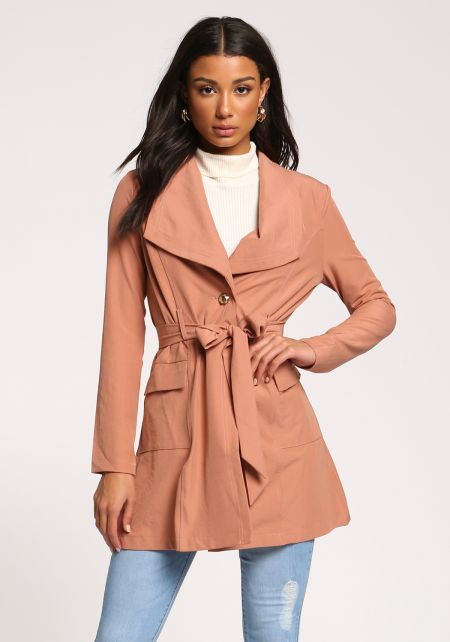 Mauve Single Breasted Pocket Waist Tie Duster Jack