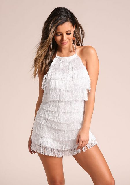White Tiered Fringe Back Strap Flapper Romper