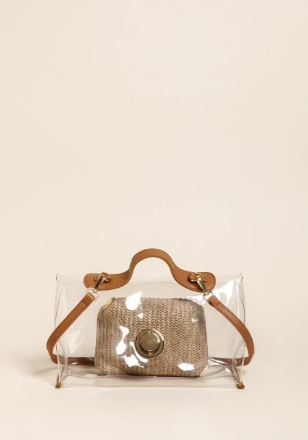 Clear Shoulder Bag with Straw Pouch