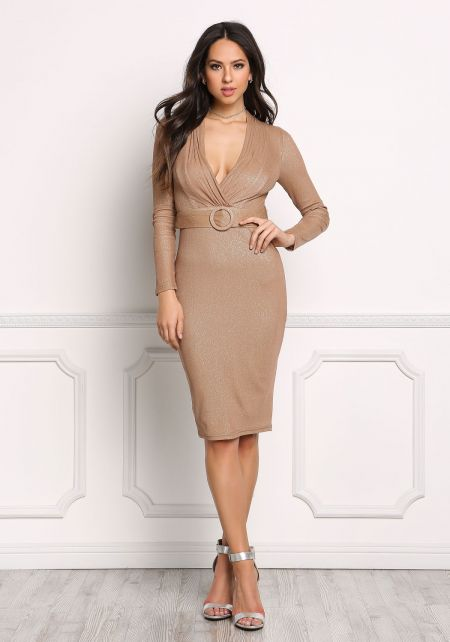 Mocha Plunge Sparkle Belted Bodycon Dress