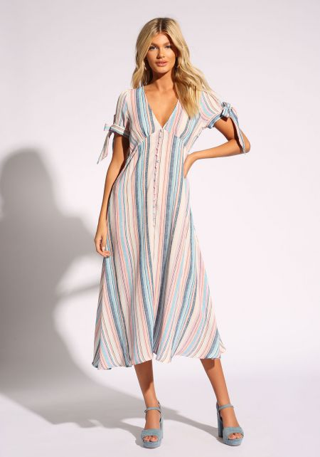 Multi Stripe Sleeve Tie Midi Dress
