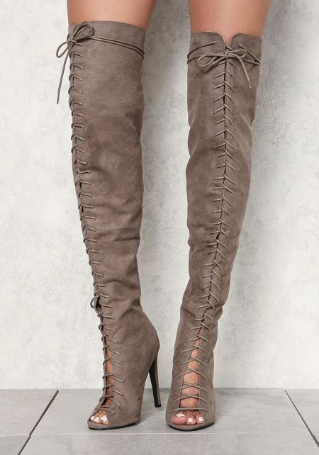Taupe Suedette Lace Up Over The Knee Heels