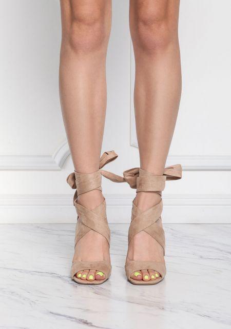 Natural Suedette Cross Over Heels