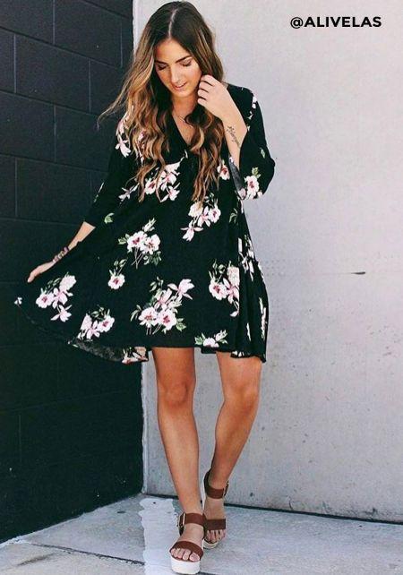 Black Floral Crepe Deep V Shift Dress
