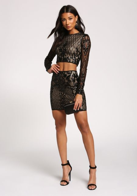 Black Sequin Crop Top & Mini Skirt Set