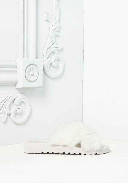 White Crossover Faux Fur Slide Sandals
