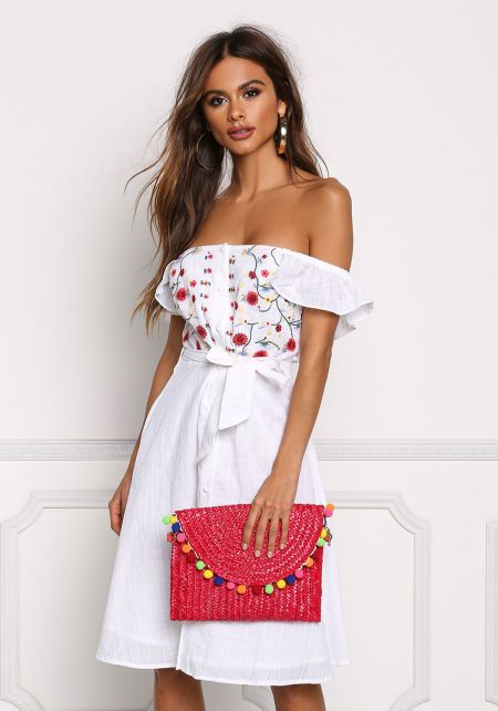White Off Shoulder Floral Embroidered Dress
