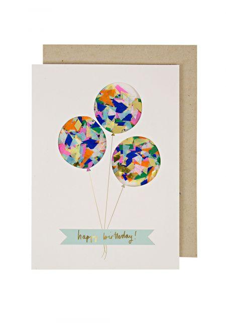 Balloons Confetti Birthday Card