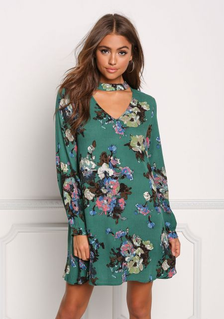 Hunter Green Floral Crepe Cut Out Shift Dress