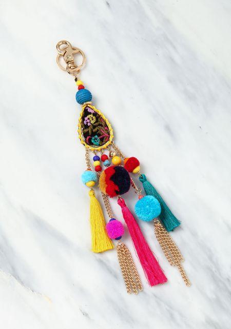 Multi Colored Yarn Tassel Pom Pom Key Chain