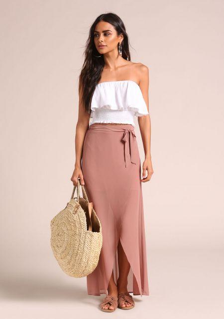 Mauve Faux Wrap Chiffon Maxi Skirt