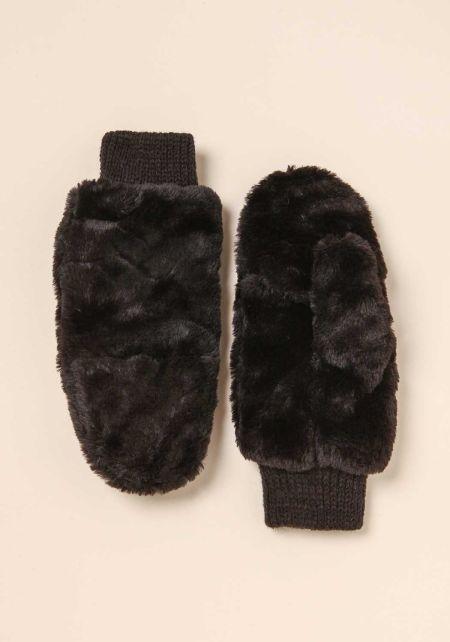 Black Faux Fur Slit Mittens
