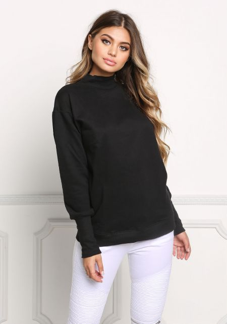 Black High Neck Pullover Sweater
