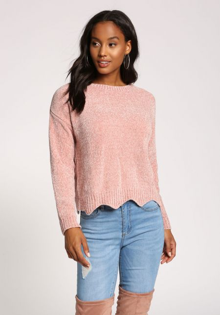Dusty Pink Scallop Soft Sweater Top