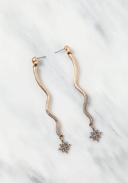 Gold Rhinestone Star Dangle Earrings