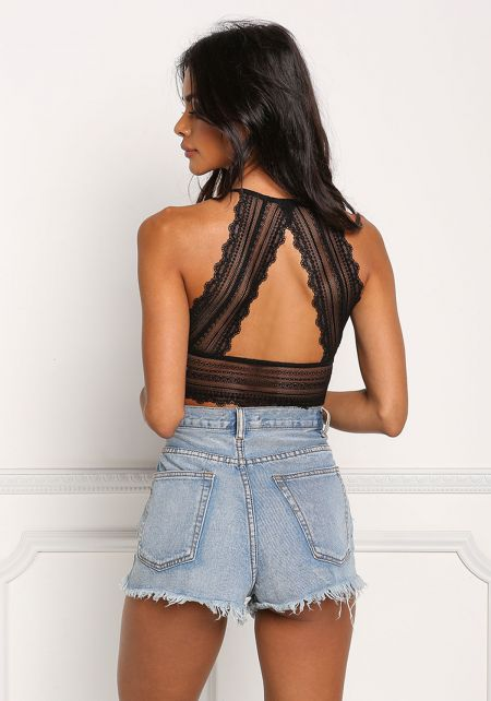 Black Lace Back Cut Out Bralette