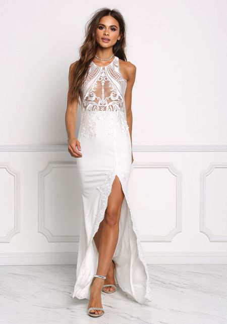 Ivory Embroidered High Slit Maxi Gown