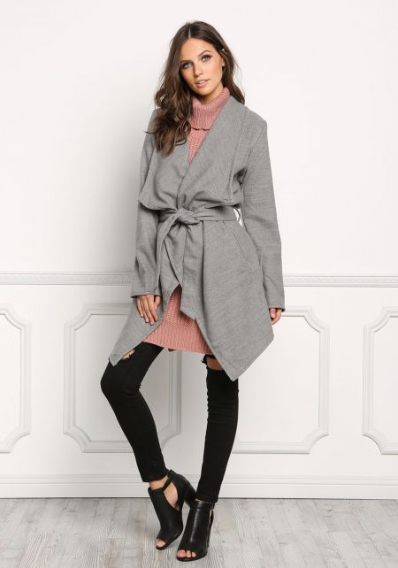 Grey Fold Over Cinched Trench Coat