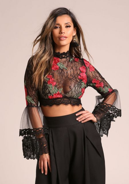 Black Rose Embroidered Tulle Bell Sleeve Crop Top