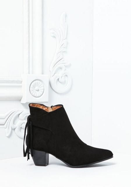 Black Pointed Toe Fringe Boots