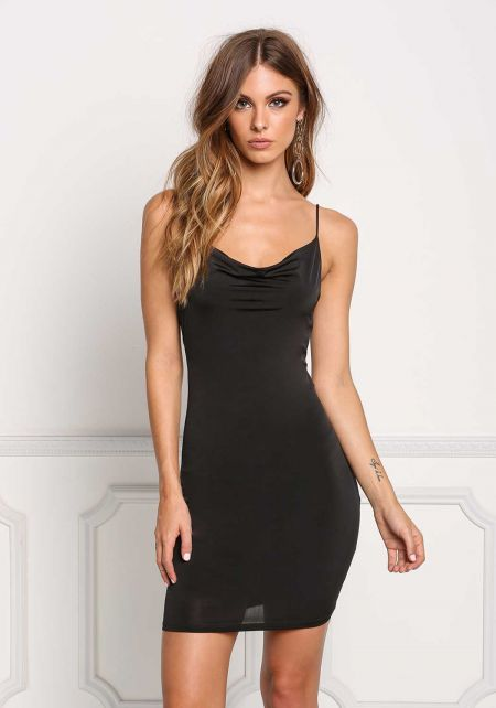 Black Draped Low Back Bodycon Dress