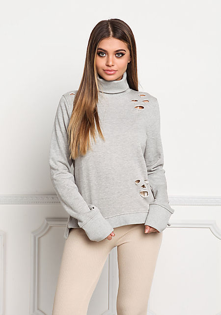 Heather Grey Turtleneck Distressed Sweater Top
