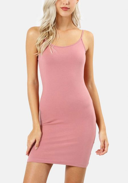 Dusty Rose Jersey Knit Longlined Cami Tank Top
