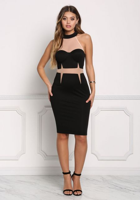 Black Mesh Trim Two Tone Bodycon Dress