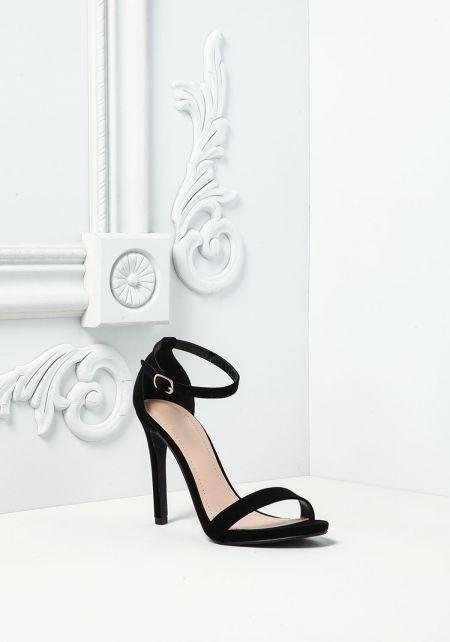 Black Leatherette Ankle Strap Heels