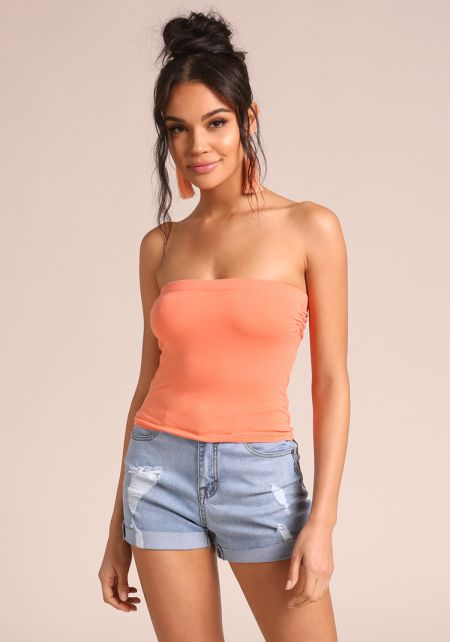 Coral Jersey Knit Tube Top