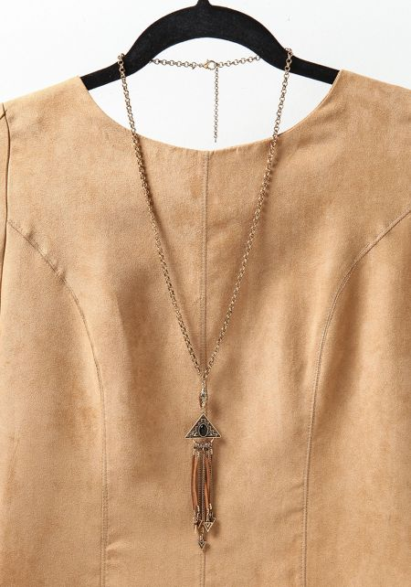 Gold and Black Triangle Pendant Fringe Necklace